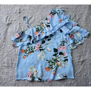 Parker XS Clayton Blouse 100% Silk Floral Daphne